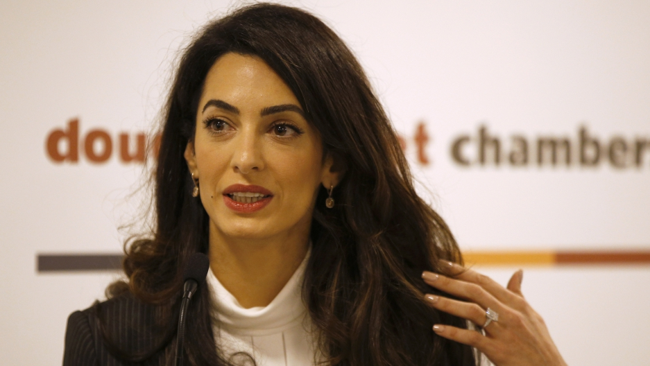 Amal Clooney speaking at recent news conference for another high-profile case