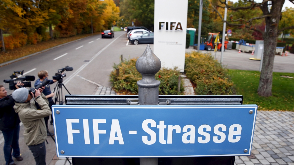 "The sign marking ""FIFA Street"" outside their headquarters in Zurich."