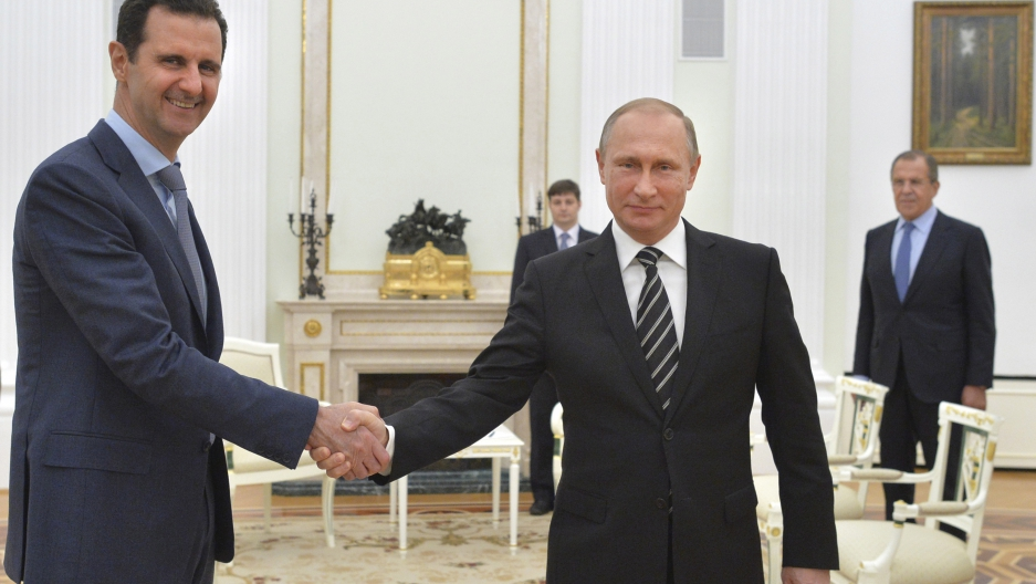 Russian President Vladimir Putin and Syrian President Bashar al-Assad meet at the Kremlin in Moscow, Russia.