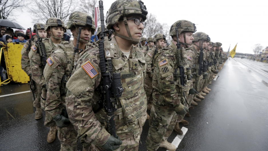 U.S. troops participate in Latvia's Independence Day military parade in Riga, Latvia, November 18, 2015.