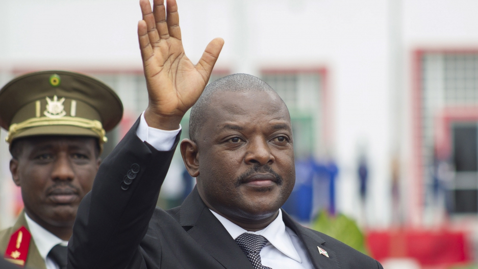 Burundi's President Pierre Nkurunziza bids farewell to his South African counterpart Jacob Zuma as he departs at the airport after an Africa Union-sponsored dialogue in an attempt to end months of violence in the capital Bujumbura, February 27, 2016.