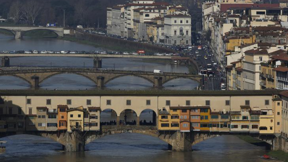 A view of Ponte Vecchio (Old Bridge) in Florence, Italy