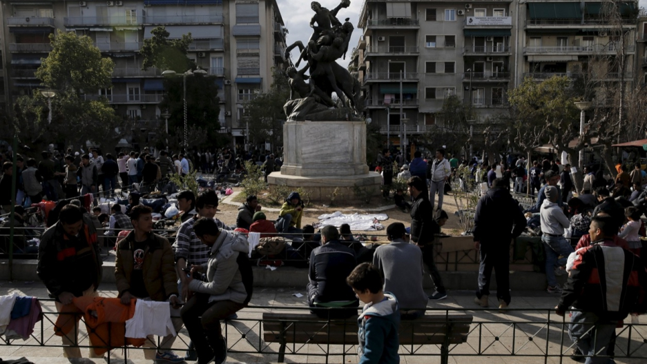 Stranded migrants from Afghanistan and other countries crowded into Athens' Victoria Square in March. This and other sites around the city have also become favored pickup spots for Greek men seeking to buy sex.