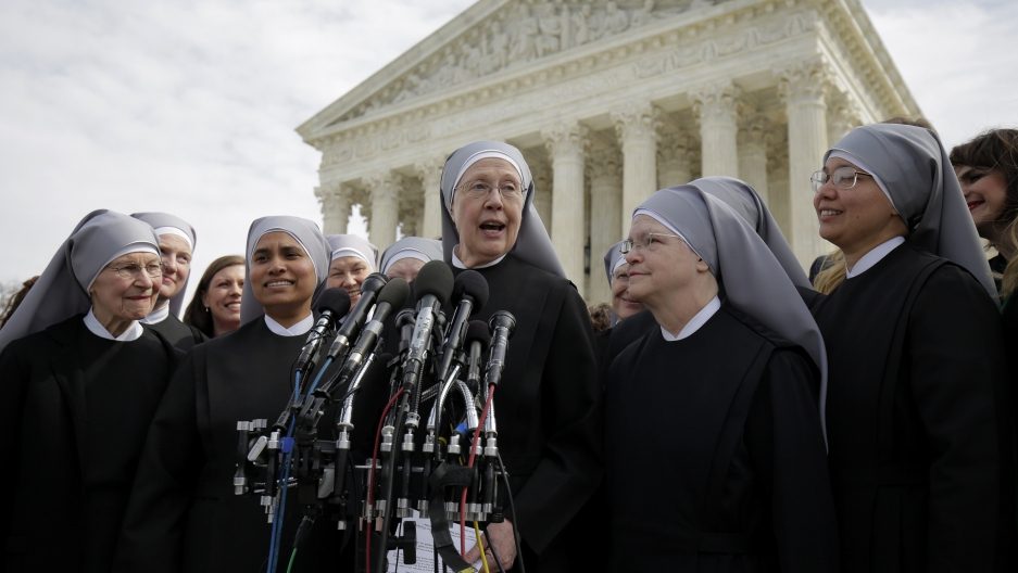 Sister Loraine McGuire with Little Sisters of the Poor speaks to the media after Zubik v. Burwell, an appeal brought by Christian groups demanding full exemption from the requirement to provide insurance covering contraception under the ACA.
