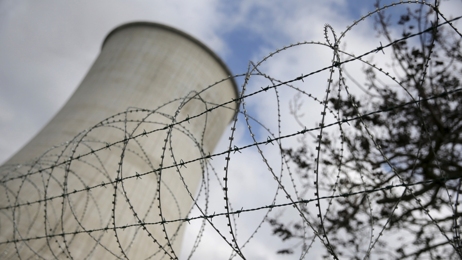 Barbed wire guarding the entrance to a nuclear power station in Belgium