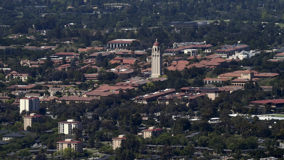 Stanford University's campus is seen in an aerial photo in Stanford, California, United States on April 6, 2016.