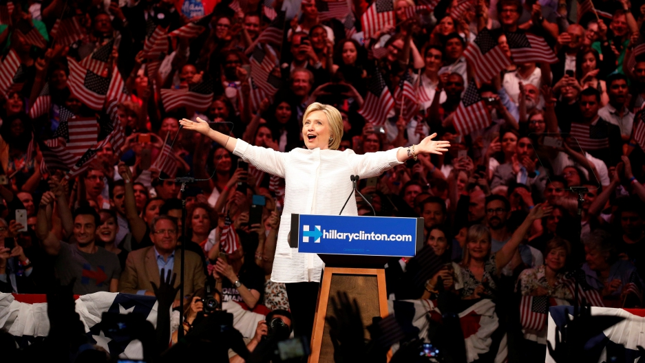 Hillary Clinton arrives to speak during her California primary night rally held in Brooklyn. Clinton declared herself the Democratic Party nominee, saying she had made history as the first woman to lead a major party in a race for the White House.