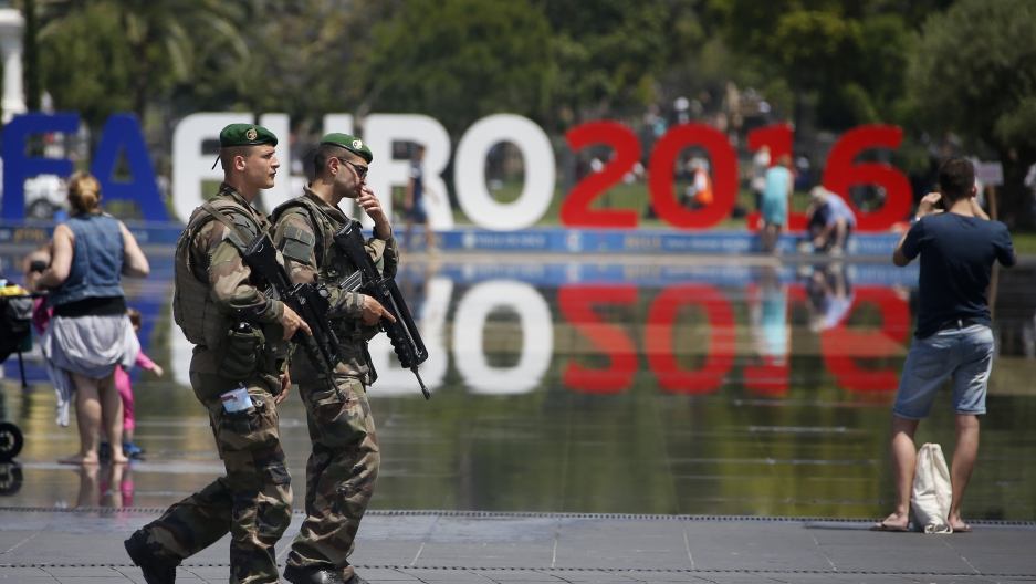Soldiers patrol ahead of the UEFA 2016 European Championship in Nice, France, June 8, 2016