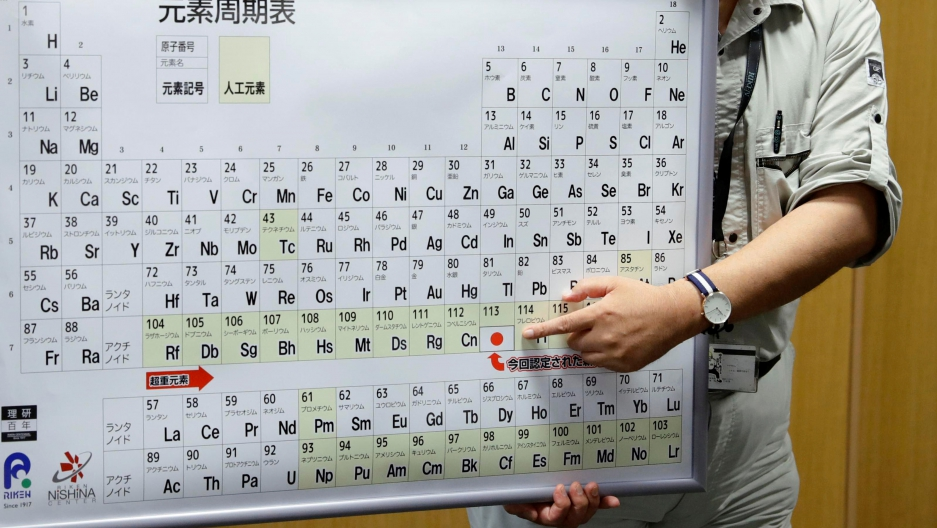 Kyushu University professor Kosuke Morita, head of a team of scientists who discovered element 113, points to the superheavy synthetic element on a periodic table at a news conference at the RIKEN institute's research centre in Wako, Saitama Prefecture, J
