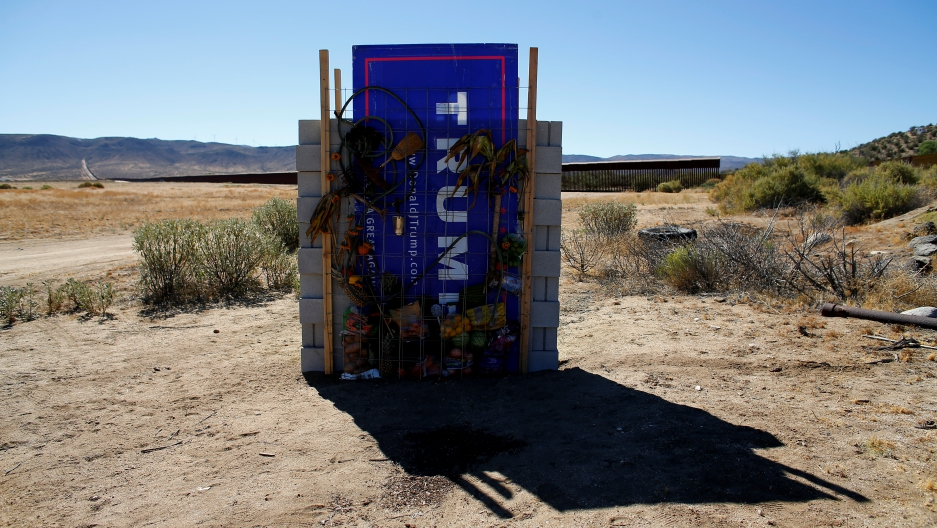 A version of Republican presidential candidate Donald Trump's wall created by artists David Gleeson and Mary Mihelic is pictured next to the U.S. Mexican border in Jacumba Hot Springs, California United States, July 12, 2016.