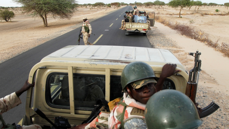 Nigerien soldiers patrol near the town of Diffa, Niger. US Special Forces are training Nigerian troops on Niger's border.