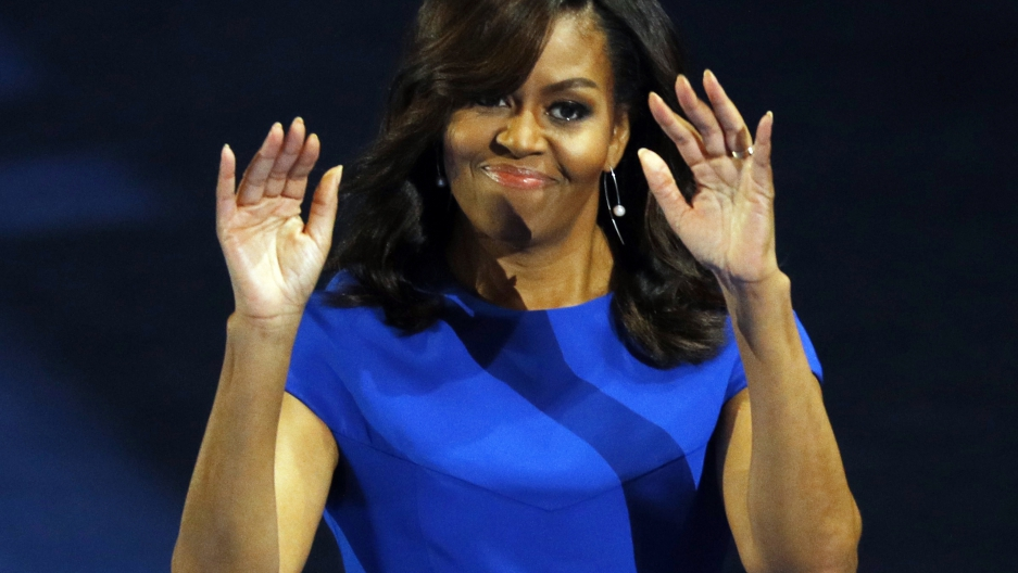 U.S. First lady Michelle Obama addresses the Democratic National Convention in Philadelphia, Pennsylvania.