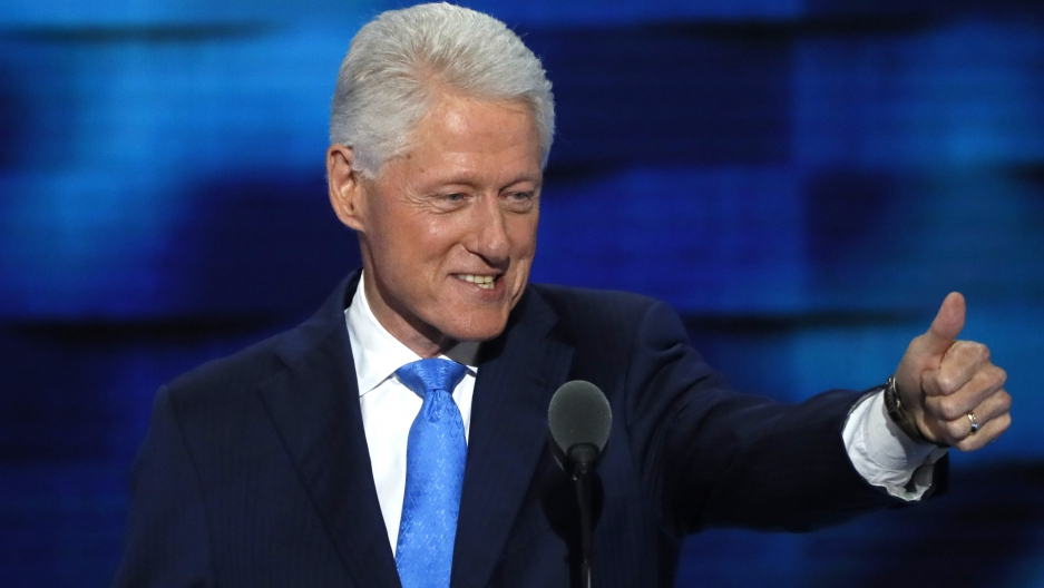 Former President Bill Clinton speaks at the Democratic National Convention in Philadelphia