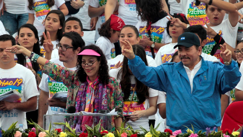 Nicaragua's President Daniel Ortega and first lady Rosario Murillo