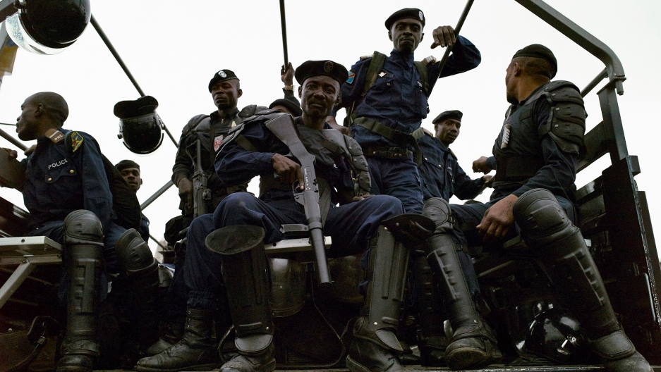 Congolese police on patrol in Kinshasa, Monday