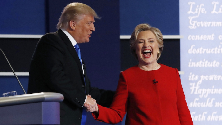 Donald Trump and Hillary Clinton shaking hands after their first presidential debate at Hofstra University in Hempstead, New York, on Sept. 26.