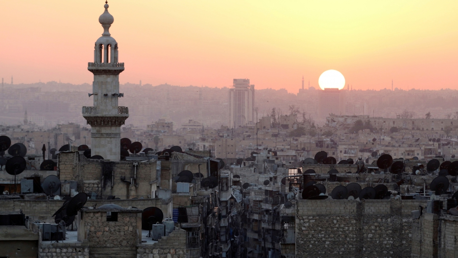 Sunset from the rebel-held section of Aleppo, which has been under siege for more than a year.