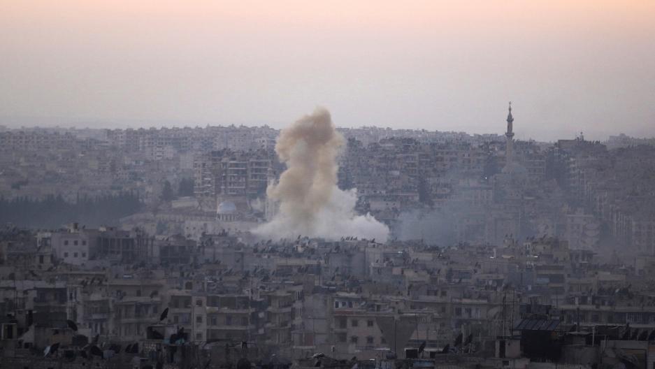 Smoke rises from the Bustan al-Basha neighborhood of Aleppo, Syria, on Oct. 5, 2016.