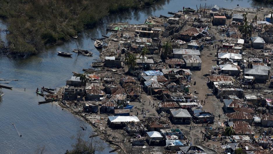 Houses damaged by Hurricane Matthew, in Corail, Haiti