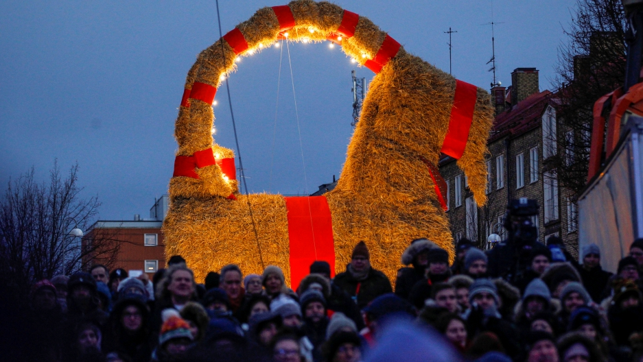 A traditional Christmas goat display is pictured in Gavle, Sweden, November 27, 2016.