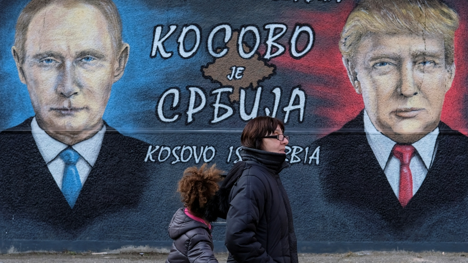 A mural of then President-elect Donald Trump and Russian President Vladimir Putin in Belgrade, Serbia, December 4, 2016.