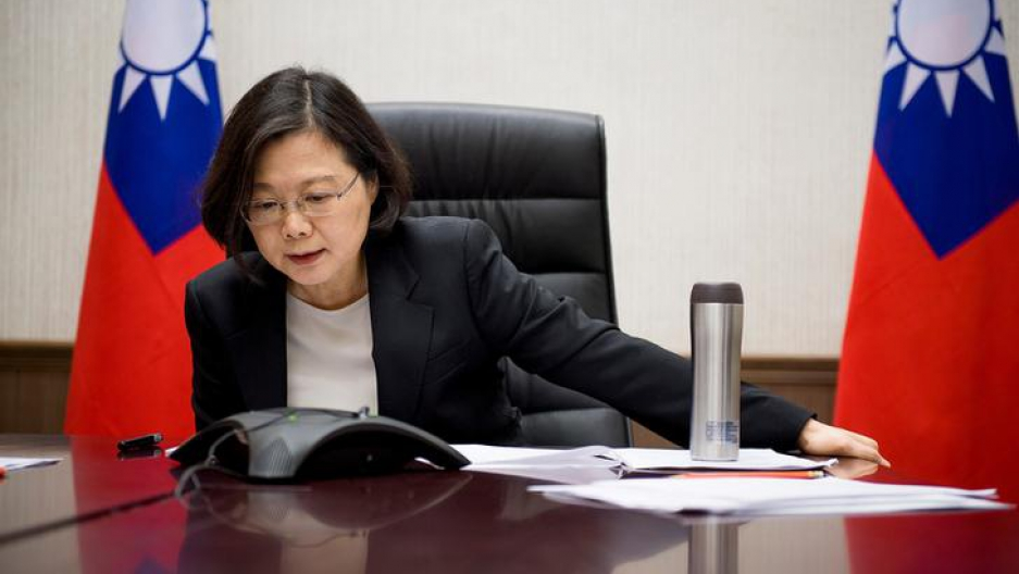 Taiwan's President Tsai Ing-wen speaks on the phone with U.S. president-elect Donald Trump at her office in Taipei, Taiwan, in this handout photo made available December 3, 2016.