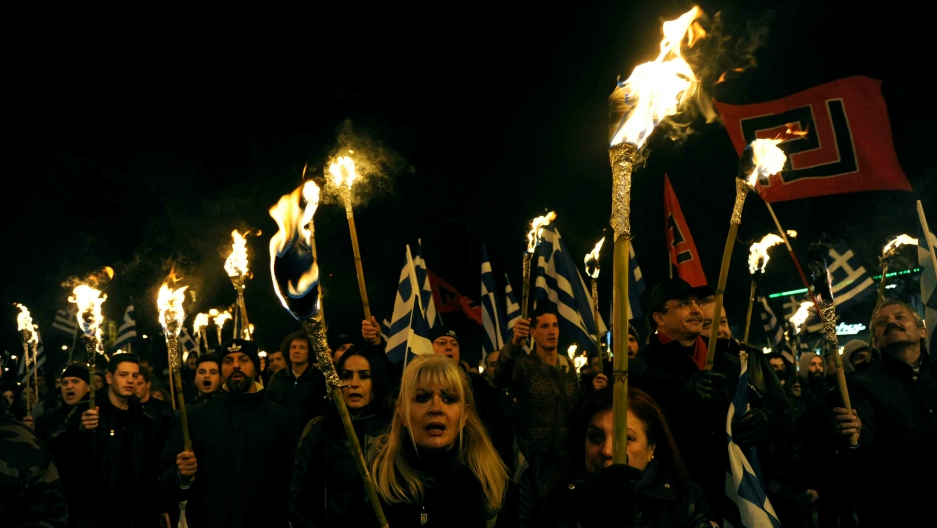 Supporters of Greece's far-right Golden Dawn party rally in Athens, Greece, Jan. 28, 2017.