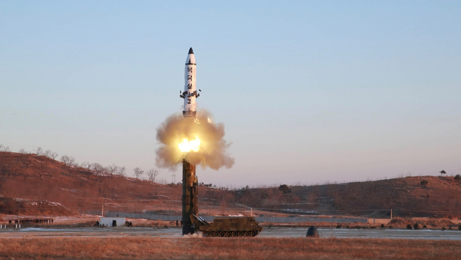 "North Korea says it conducted a test launch of a Pukguksong-2 guided missile on Feb. 12 and that the test was a ""complete success."" This undated photo was released by North Korea's Korean Central News Agency (KCNA) in Pyongyang on Feb. 13, 2017."