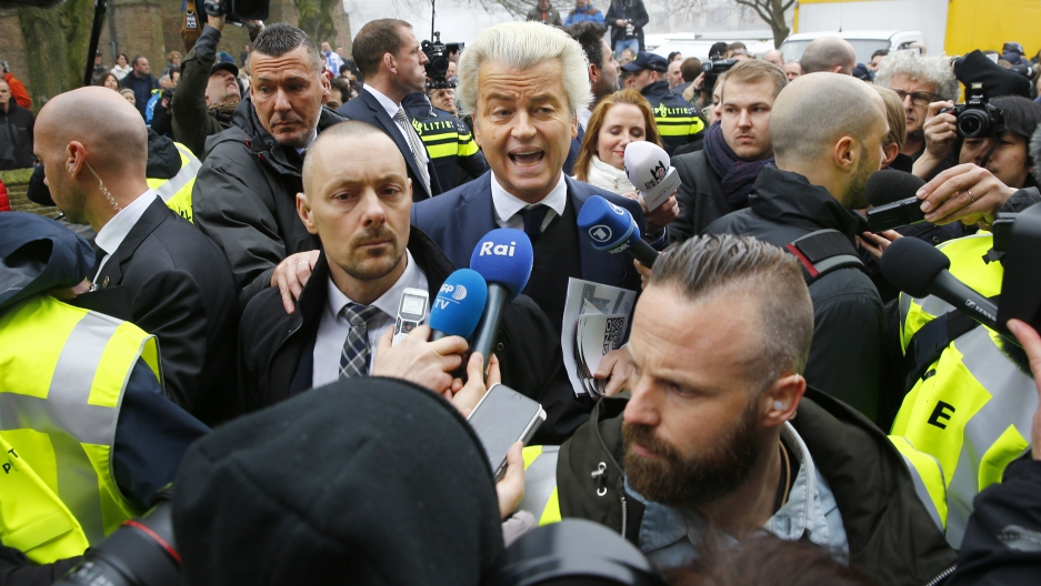 Dutch far-right Party for Freedom (PVV) leader Geert Wilders campaigns for the 2017 Dutch election in Spijkenisse, a suburb of Rotterdam, on February 18.