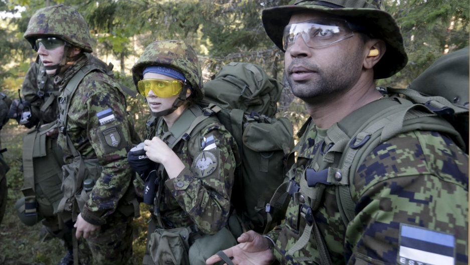 Volunteer soldiers with Estonia's Defense League training near Rabasaare, Estonia. last year