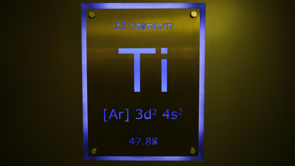 A sign showing titanium on the periodic table of elements is seen at the Nobel Biocare manufacturing facility in Yorba Linda, California May 16, 2013.