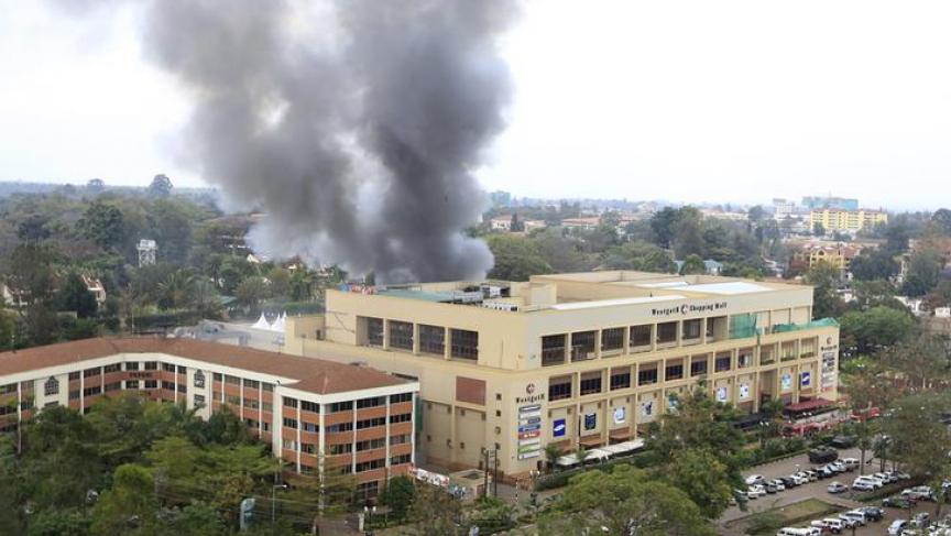 Thick smoke poured from Nairobi's besieged Westgate mall, three days after a raid by Somalia's al- Shabaab militia.