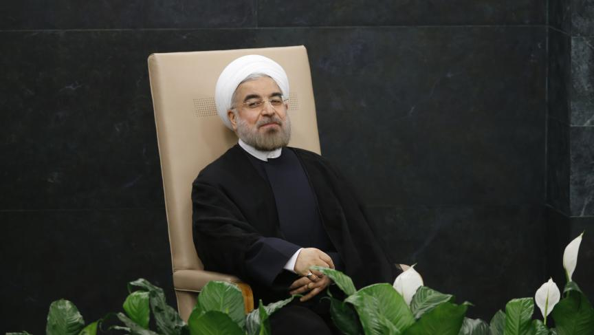 Iran's President Hassan Rouhani waiting to address the 68th United Nations General Assembly at UN headquarters in New York, Tuesday.