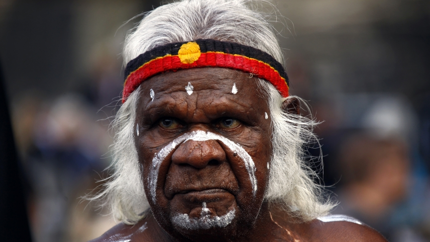 An Aboriginal performer in Sydney, Australia. Aboriginal languages in Australia are among the fastest-disappearing tongues in the world.