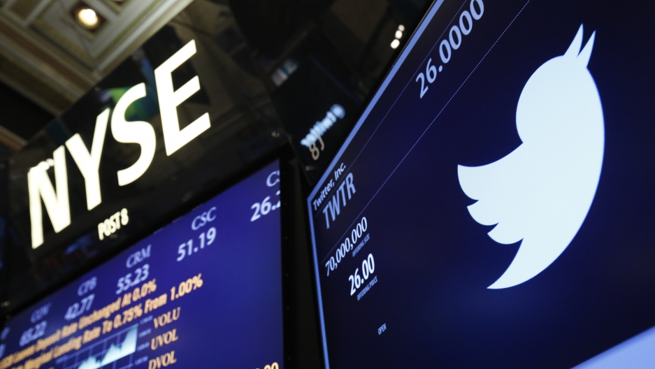 The Twitter logo is seen on the floor at the New York Stock Exchange