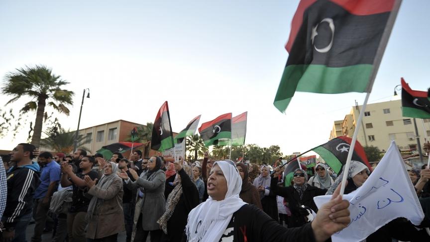 Libyans protest against the armed militias