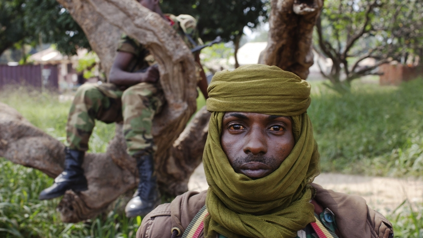 An ex-Seleka soldier stands guard in Bossangoa, Central African Republic.