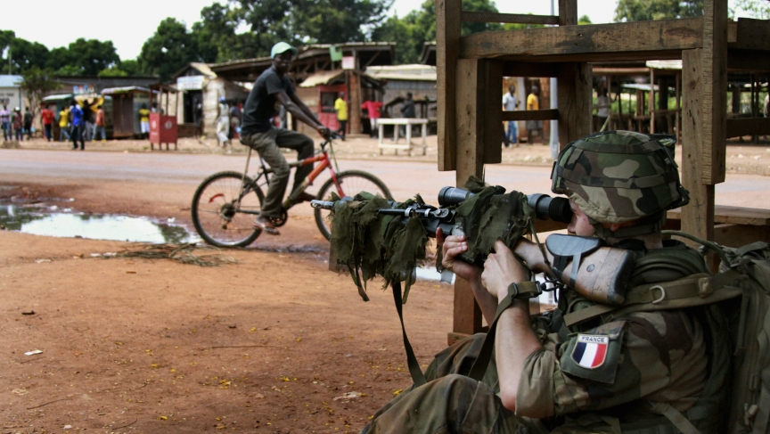A French military sniper readies his rifle in Bangui.