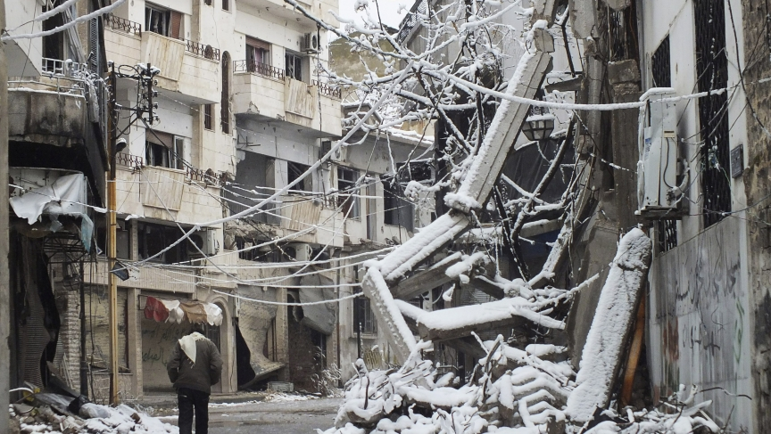 Buildings covered with snow in Homs