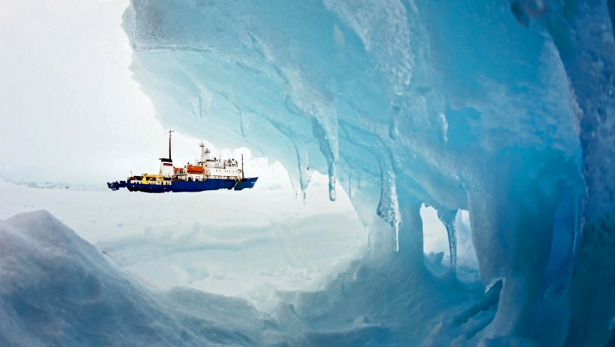 The MV Akademik Shokalskiy stranded in ice off Antarctica on December 29. After a blizzard finally cleared the Russian ship's 52 passengers were airlifted to a nearby icebreaker.