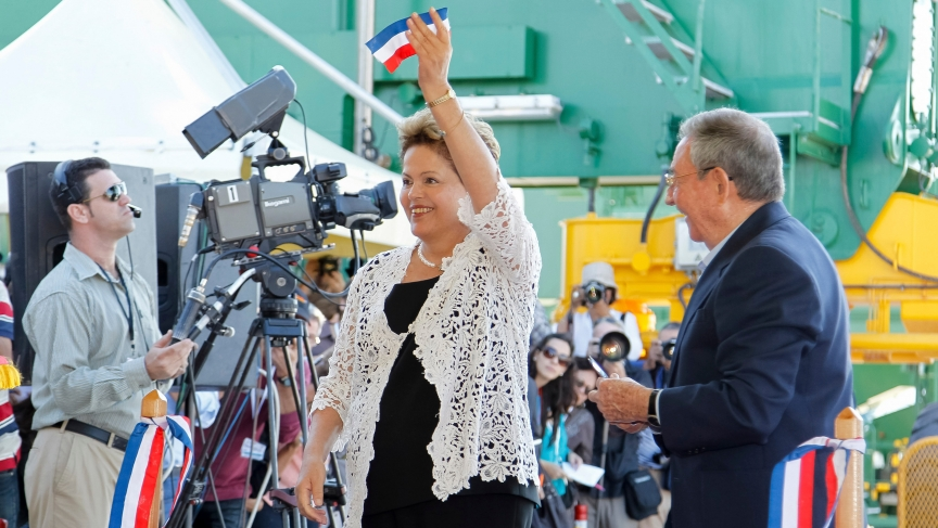 Brazil's President Dilma Rousseff and Cuban leader Raul Castro cut the ribbon of Cuba's new $957 million port, billed as the most modern in Latin America.