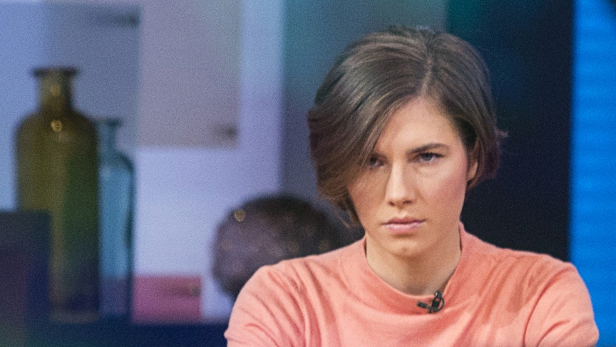 """Amanda Knox sits before being interviewed on the set of ABC's """"Good Morning America"""" in New York, January 31st 2014, a day after an Italian court upheld guilty verdicts against Knox and her former Italian boyfriend, Raffaele Sollecito, on charges of murde"""