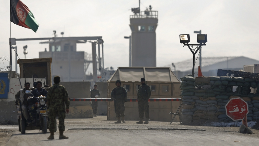 Afghan National Army soldiers on guard at the gate of the Bagram detainee centre, north of Kabul.