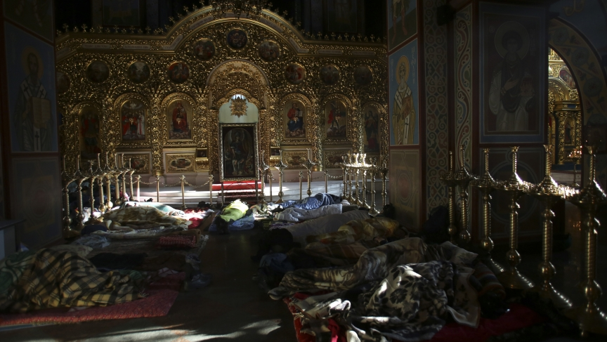 Anti-government protesters sleep in Kiev's Mikhailovsky Monastery last week.