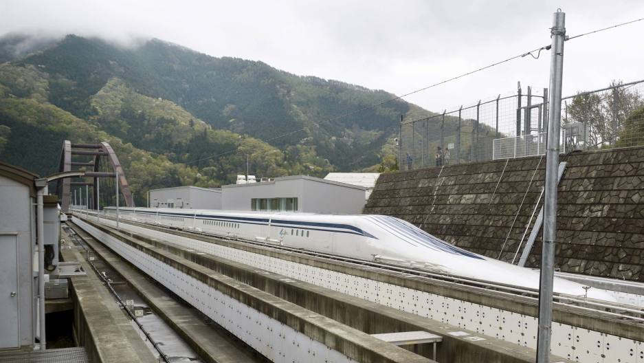 A magnetically levitating (maglev) train operated by Central Japan Railway