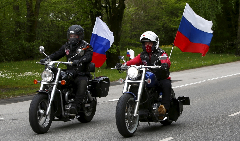 Members of the Russian motorcycle group called 'Nachtwoelfe' (Night Wolves) arrive at the former German Nazi concentration camp in Dachau near Munich, Germany May 4, 2015.
