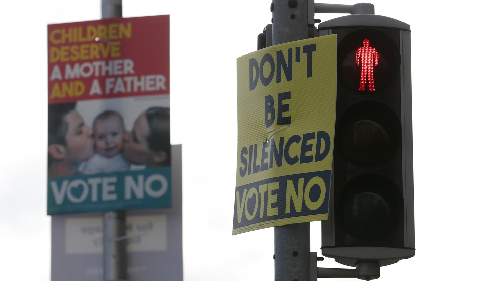 Posters supporting a No vote on Ireland's same-sex marriage referendum are displayed in the Temple Bar area of Dublin on May 19, 2015.