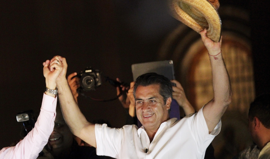 "Jaime Rodriguez, known as ""El Bronco,"" an independent candidate for governor of Nuevo Leon state, celebrates his victory after midterm elections, June 7, 2015."