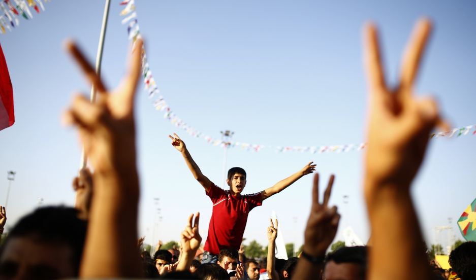 Opposition supporters celebrate in eastern Turkey.