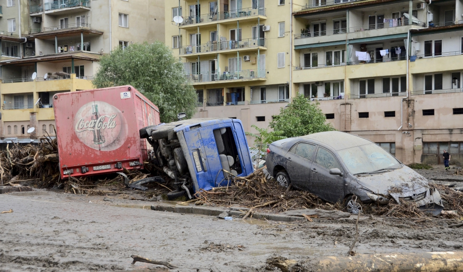 Heavy rainfall turned the Vere river flowing through Tbilisi, Georgia into a torrent that swept away dozens of buildings and cars, June 14, 2015. At least a dozen people died as a result of flooding and mudslides in the Georgian capital.